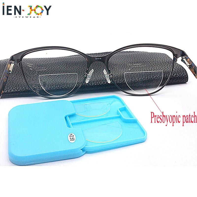 IENJOY Liquid Silicone Bifocal Reading Lens 2 Pcs Stick-on Presbyopic Lenses Magnification Reusable Bifocal Lenses 1.0 2.0 3.0