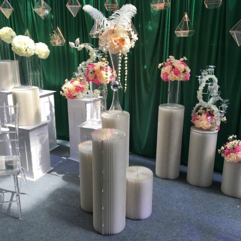 Свадебный реквизит, бумажная Складная римская колонна, дорожный дисплей, декор для свадебной вечеринки, настольная рамка, специальная крафт бумага, ремесла - 2