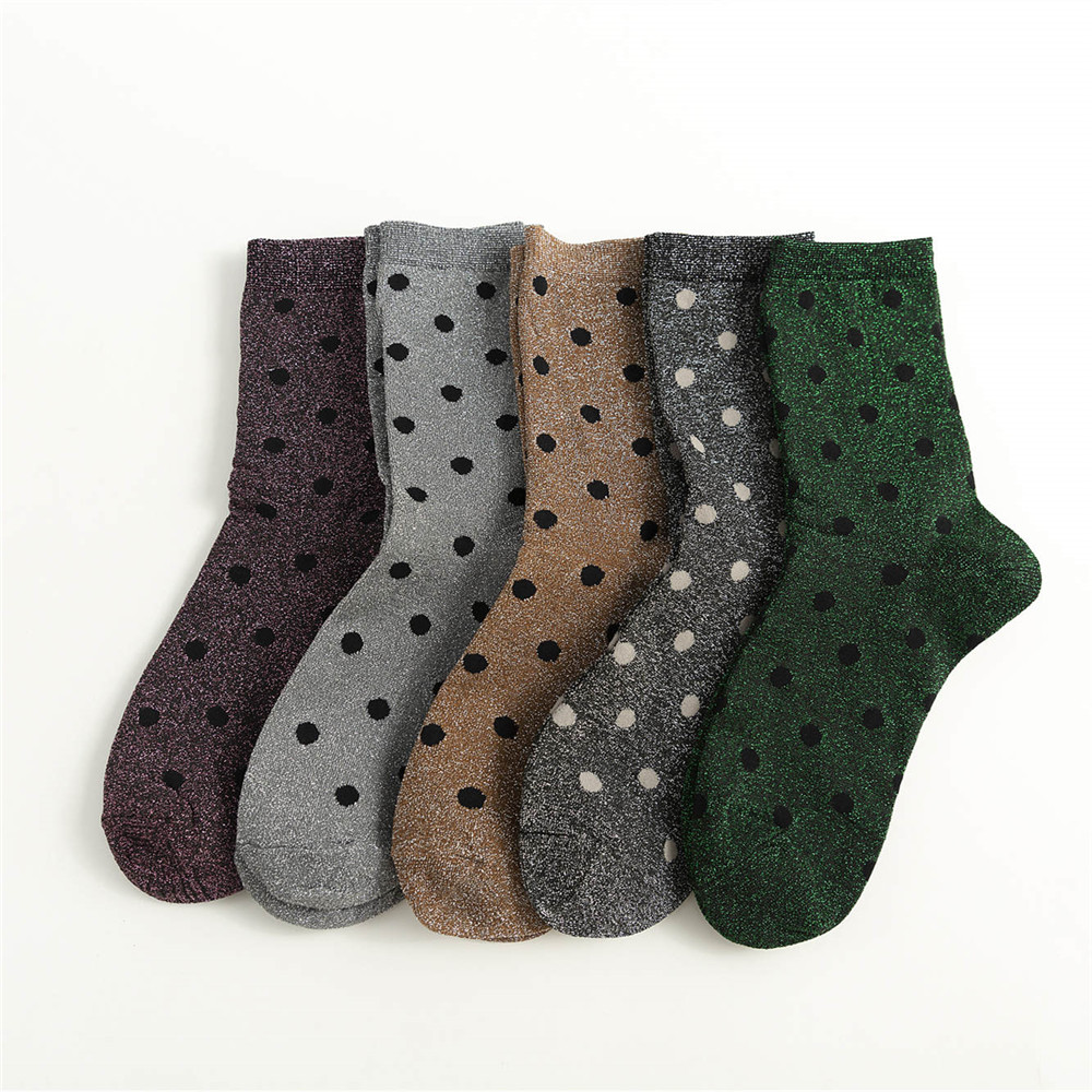 New Shiny Polka Dot Women Socks Brilliant Glitter Shining Socks High Street Bright Sparkling Socks Sokken Dames
