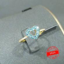 Anillo de plata de primera ley con forma de corazón para mujer... sortija de plata esterlina 925 estilo bohemio y amarillo dorado