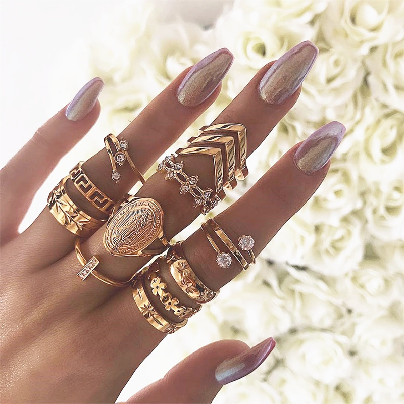 En Retro Geometric Ring Set Bohemian Ring Suitable For Women