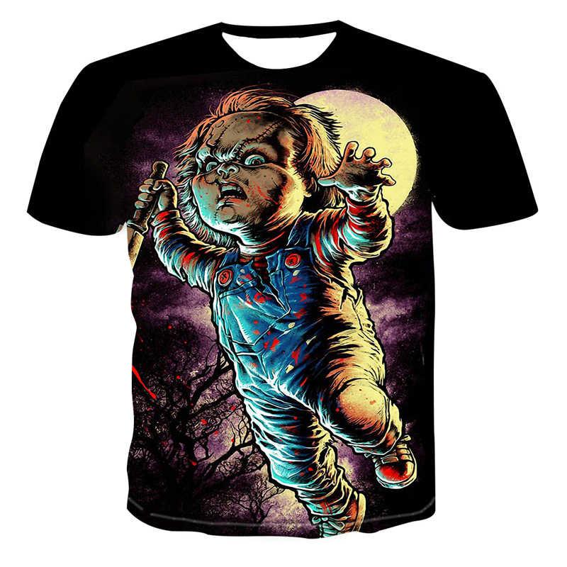 2019 neue Ankunft Horror Film Kind von Spielen Charakter Chucky 3D gedruckt männer T-shirt sommer casual shirt Casual clown t-shirt