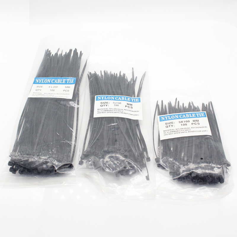 Wire-Zip-Ties-Set Cable Fasteners Hardware Industrial-Supply Self-Locking Plastic 300pcs