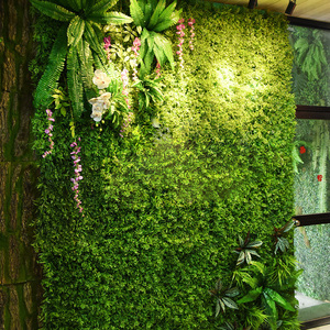 Image 2 - Painéis de parede de 2m x 1m, painéis de parede de flores artificiais, folhas tropicais de plástico, decoração de casa, casamento, faça você mesmo acessórios