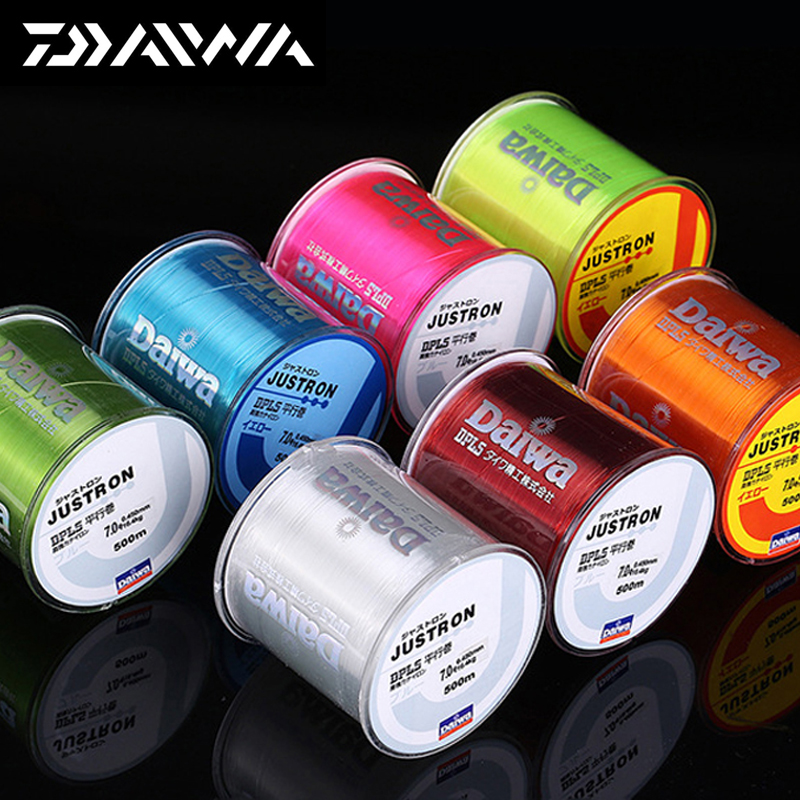 500m Daiwa  Fishing Line Justron Nylon Super Strong Wear-resistant 2LB - 40LB 7 Colors Japan Road Pole Nylon Line For Sea Poles