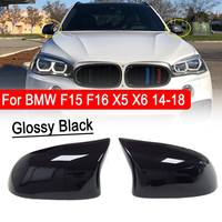 1Pair Glossy Black Side Mirror Cover Cap Replacement M Style Rearview Shell For BMW F15 F16 X5 X6 2014 2018