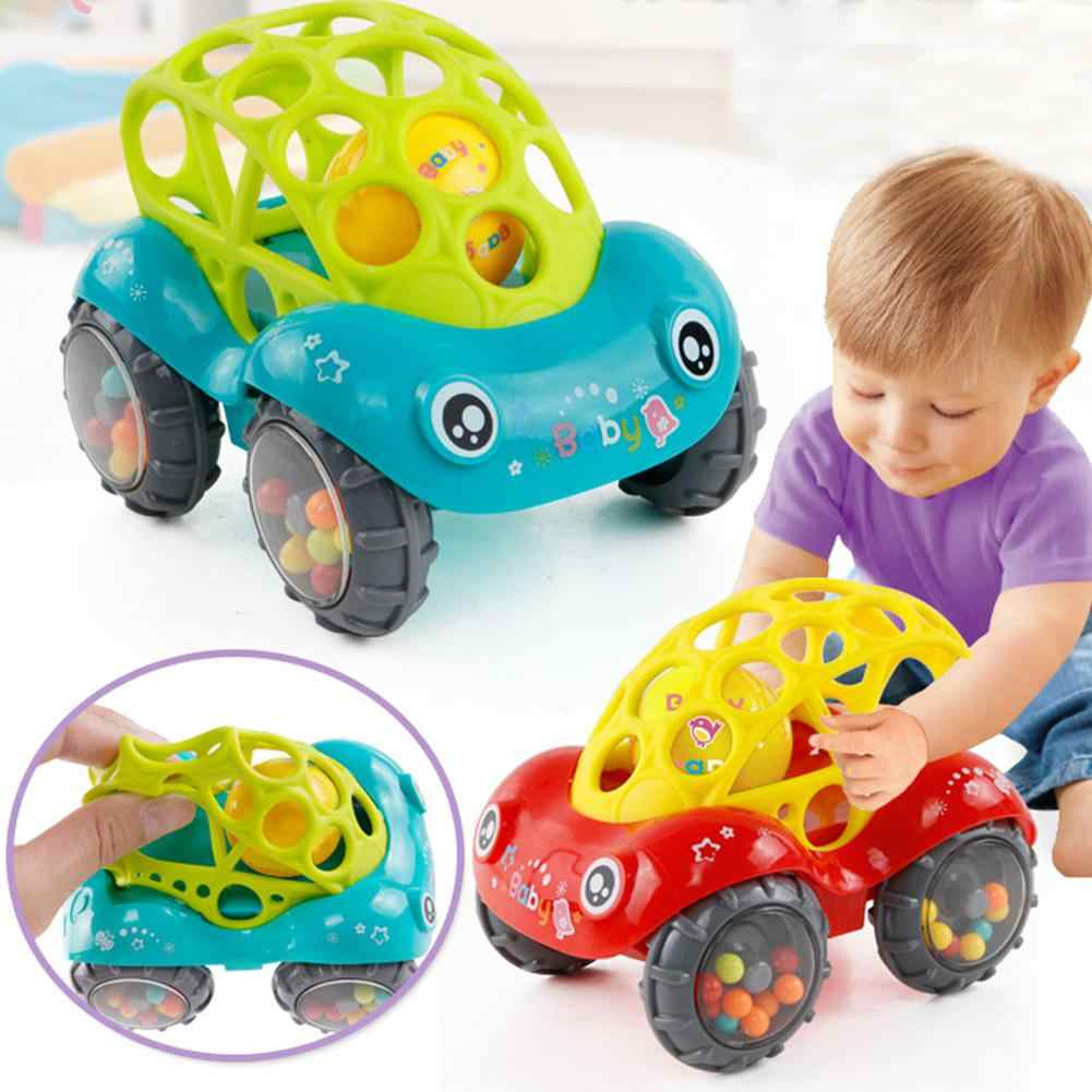 None Baby Soft Hand Grasping Hole Bell Ring Car Cute Teether Rattle Toys for Kids