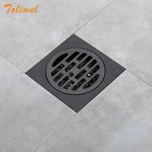 Escorredor de chuveiro quadrado, preto, de aço inoxidável, grelha de resíduos, cobertura redonda, filtro de cabelo