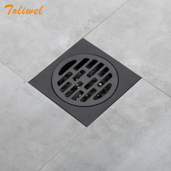 Black Bathroom Square Shower Drain Stainless Steel Floor Drainer Trap Waste Grate Round Cover Hair Strainer 24 long floor drain stainless steel bathroom shower square floor waste grate sanitary pop up drain