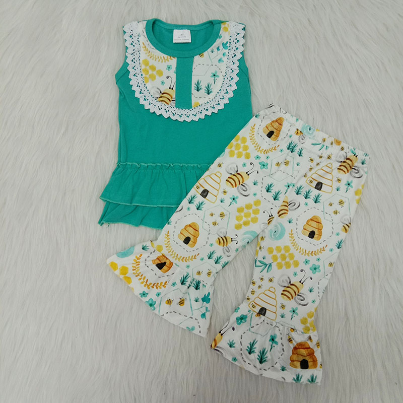 Baby girl summer outfit 2 pieces baby girl set clothes ruffle cotton tops + sweet bee pants toddler boutique kids girl clothing