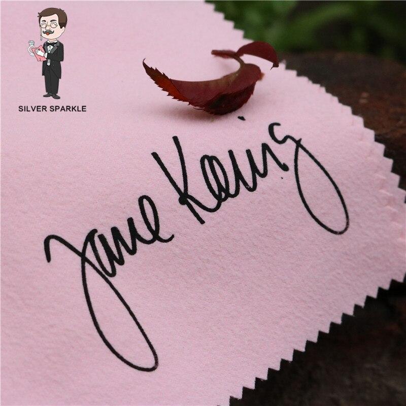 500 pièces taille personnalisée Logo imprimé argent nettoyant polissage tissu bijoux Anti ternissement bricolage outils de fabrication bijoux accessoires