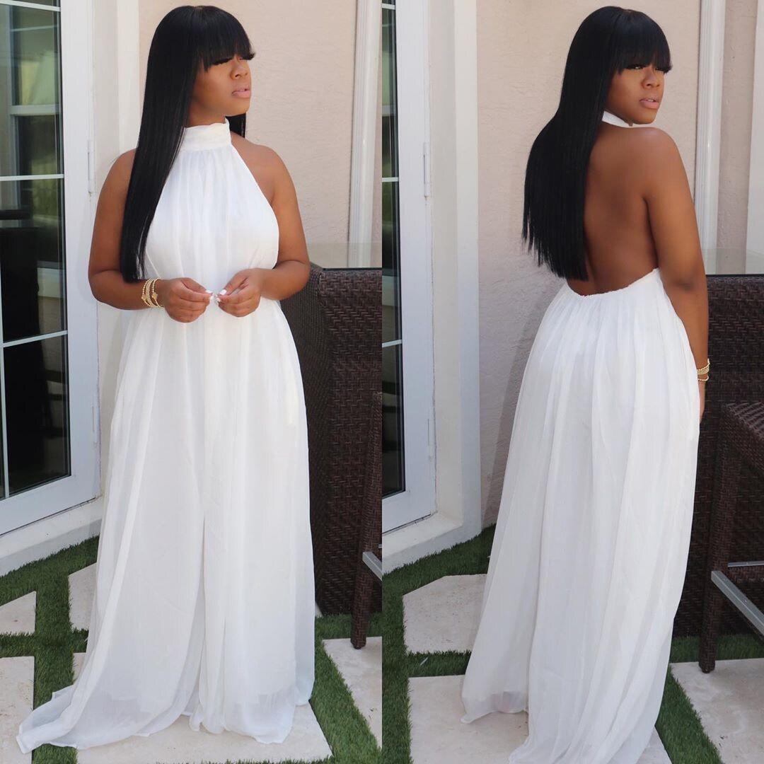 ANJAMANOR-combinaison en maille Sexy pour femmes, tenue de soirée ou Club, en maille, dos nu, ample, collection 2020, haut à licou