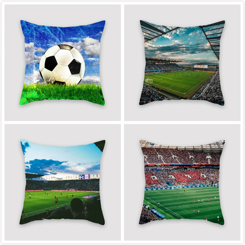 Fuwatacchi Sports Field Cushion Cover Football Soccer Tennis Pillow Cover For Home Chair Sofa Bedroom Car Decorative Pillows