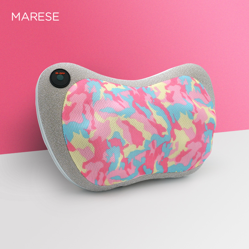 MARESE Electric Massage Pillow Cervical Shiatsu Massage Shoulder Neck Back Body Kneading Heating Massager Car Home Use camo