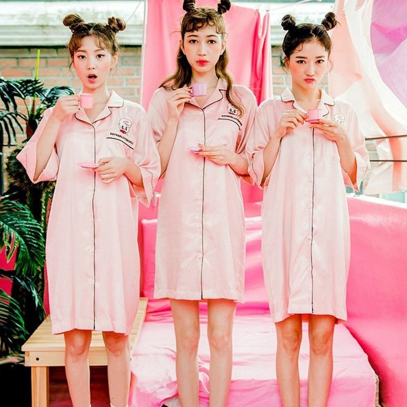 Nightgown Women's Xia Bing Silk Korean-style Silk Shirt Midi-skirt Fresh Sexy Students Cute Outer Wear Pajamas Tracksuit