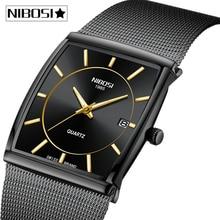 NIBOSI Men Watches Top Brand Luxury Waterproof Sport Watch Men Casual Ultra Thin Mesh Strap Quartz Wrist Watch Relogio Masculino