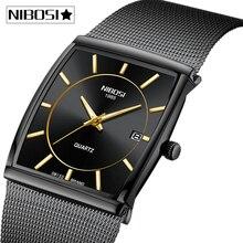 NIBOSI mężczyźni zegarki Top marka luksusowe wodoodporny zegarek sportowy mężczyźni dorywczo Ultra cienka siatka pasek Wrist Watch Quartz Relogio Masculino