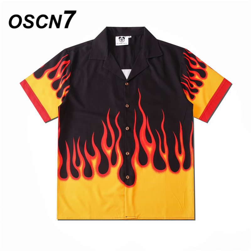 OSCN7 Casual Printed Short Sleeve Shirt Men Street 2020 Hawaii Beach Oversize Women Fashion Harujuku Shirts for Men CSD56
