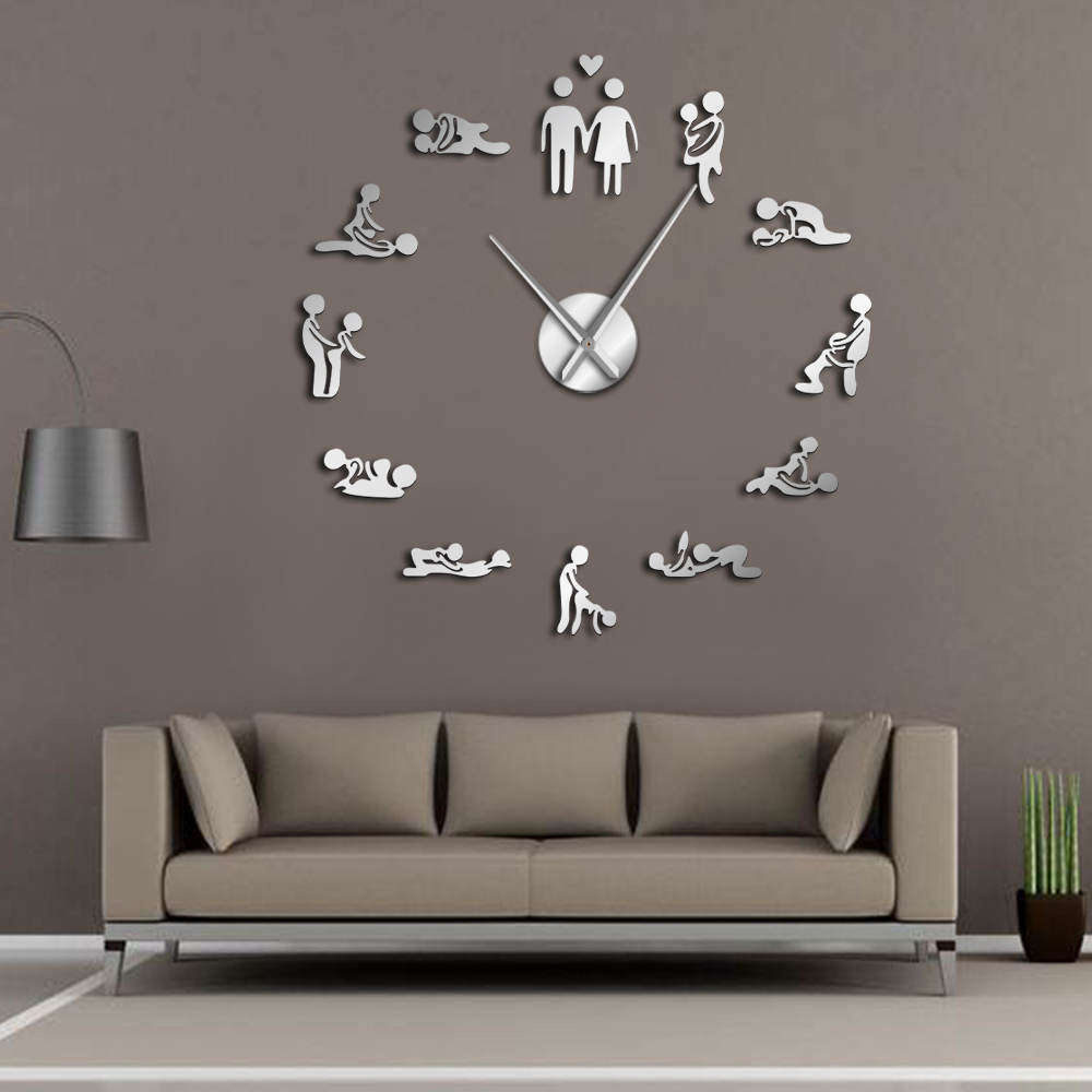 Bachelorette Game Sexy Kama Sutra DIY Adult Room Decorative Giant Wall Clock Sex Love Position Frameless Large Wall Clock Art image
