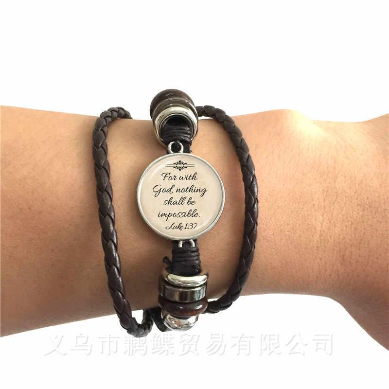 Christian Perhiasan Yesus Gelang Hitam/Coklat Gelang Kulit Faith Bible Amazing Grace Bagaimana Manis Di Sekitar Terbaik Teman Hadiah
