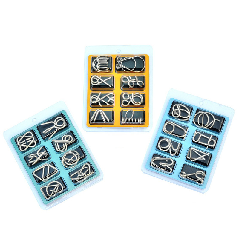 8Pcs/Set 3D Metal Puzzle Mind Brain Game Toy Children Adults Interactive Anti-Stress Funny Game Montessori Educational Toys