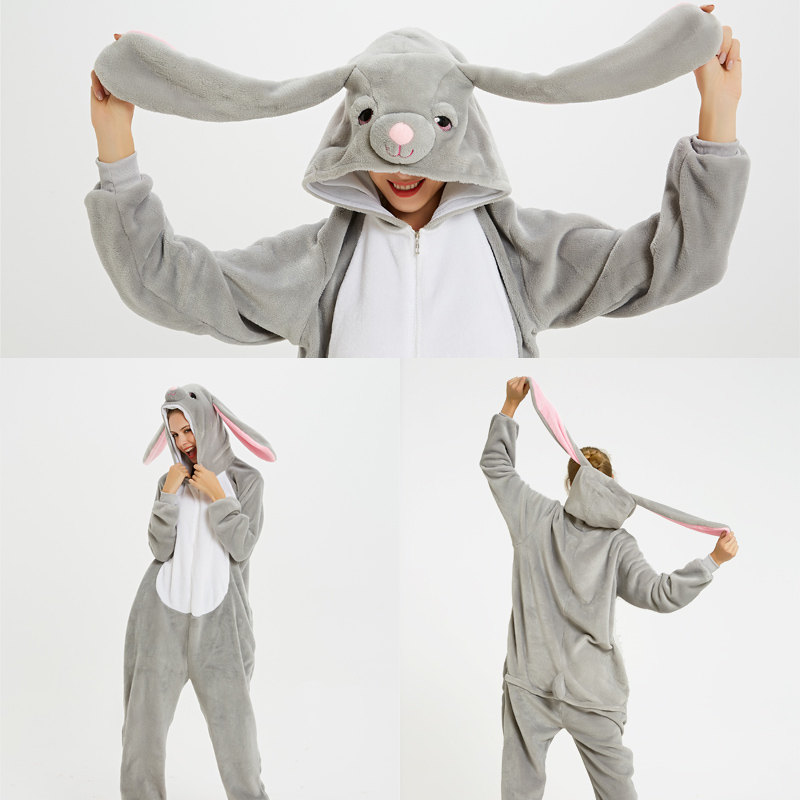 Kigurumi 2019 Winter Christmas Resurrection Rabbit Pajama Adult Animal Unicorn Pajamas Onesie Women Men Couple Sleepwear Flannel