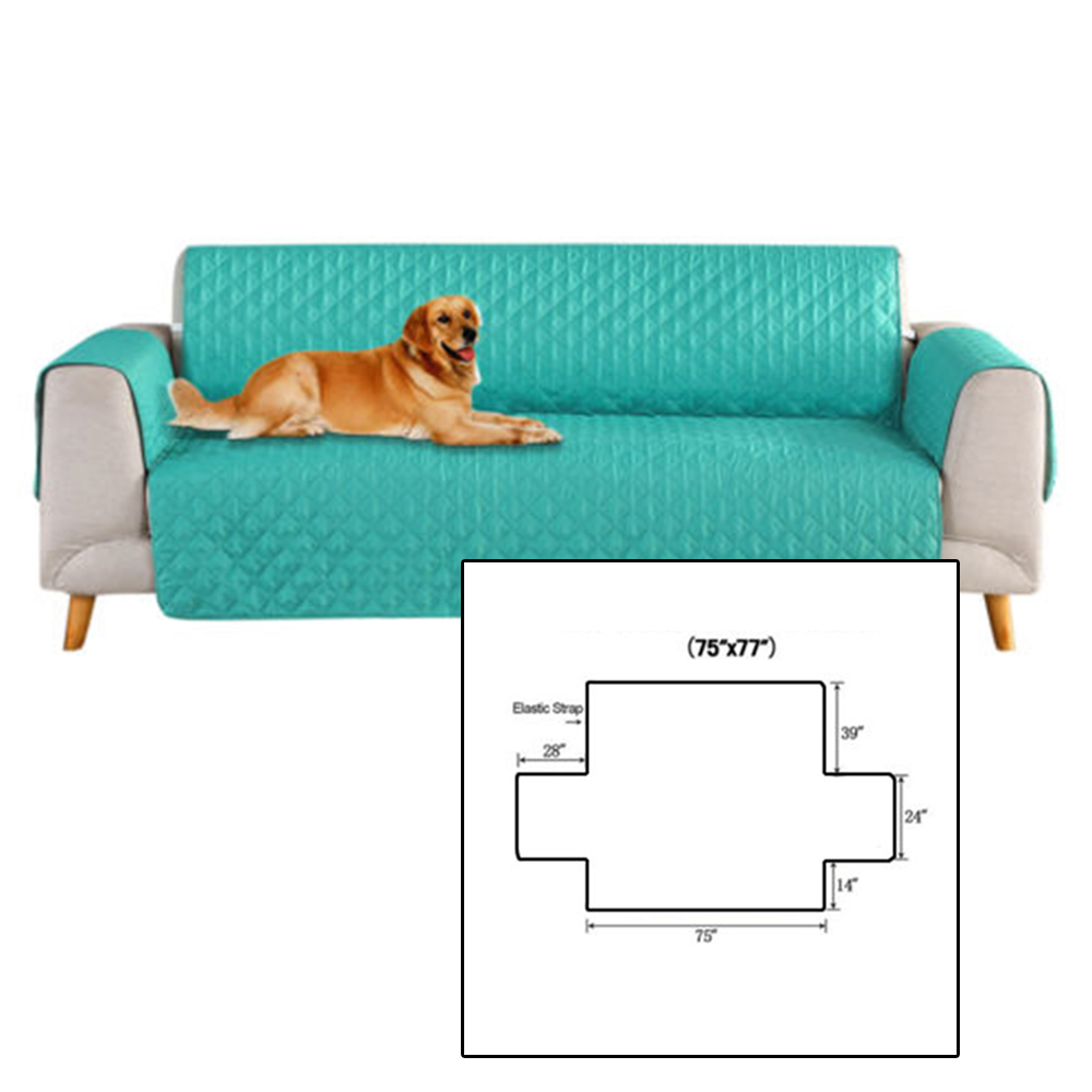 Sofa Cover Removable Pet Kids Cat Dog Quilted Couch Protect Slipcover With Strap