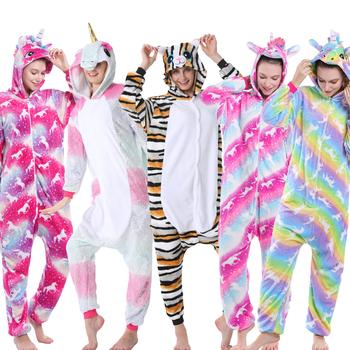 Jednorożec Onesie kostium Kigurumi wilk Zebra piżama w zwierzątka zestaw dzieci chłopiec dziewczyna piżamy zimowe flanelowe ciepłe męskie kobieta para Pijamas tanie i dobre opinie Poliester CN (pochodzenie) Unisex Pasuje mniejszy niż zwykle proszę sprawdzić ten sklep jest dobór informacji Drukuj