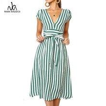 купить 2019 Summer Short Sleeve Striped T Shirt Dress Drawstring High Waist Elegant Long Party Dress V Neck Vacation Clothes Women дешево