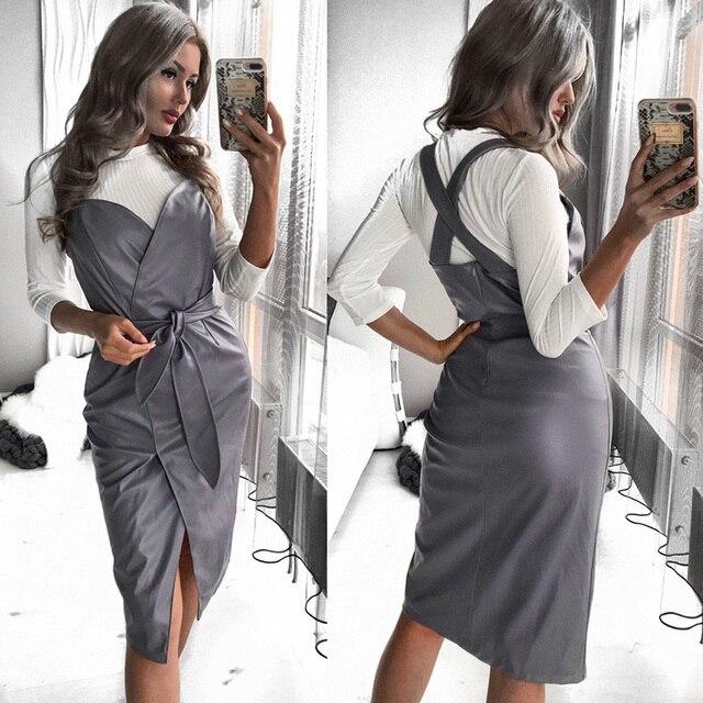 Femmes ceintures en cuir Pu col en v robe Sexy fermeture éclair Spaghetti sangle fendue genou longueur 2019 automne hiver mode robe Vintage