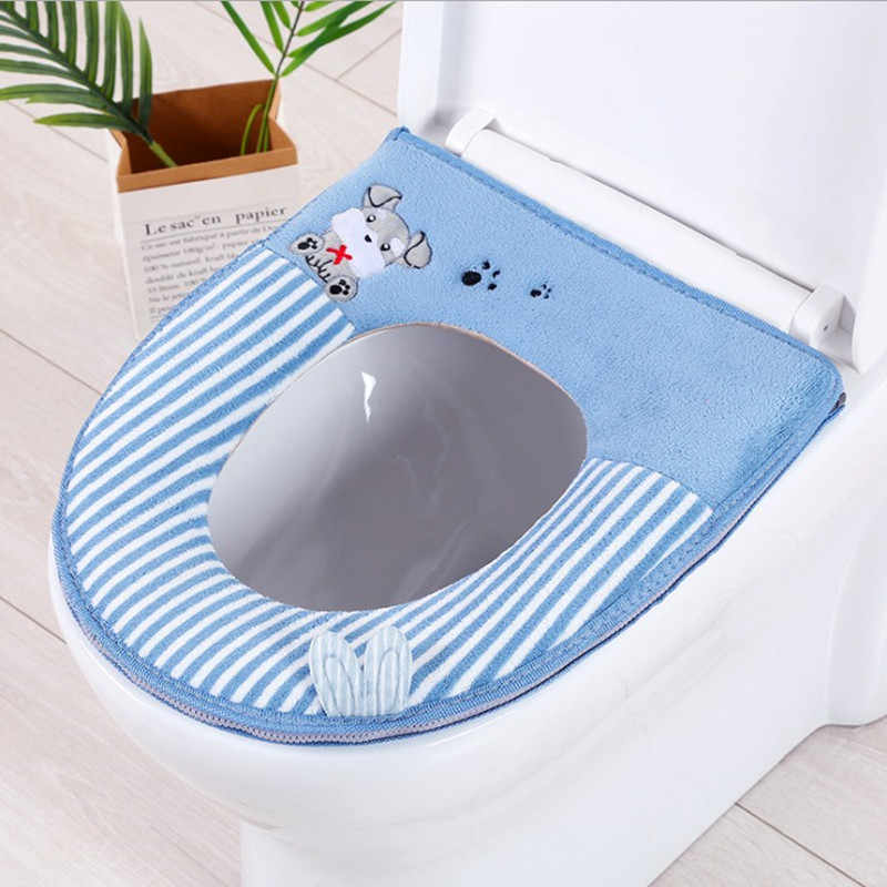 Bright Red 10 Pcs Four Seasons Washable Potty Toilet Cover O-Type Toilet Seat Cover