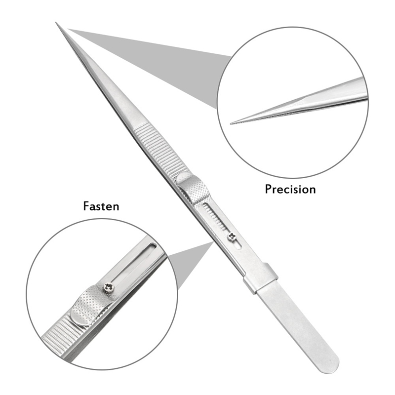 165Mm Precision Adjustable Slide Lock Tweezers For Jewelry Electronic Components Holding Tightly Repair Tool
