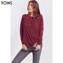 YONIS 2019 Autumn Winter Spring Women Sweaters Slit Hem One Shoulder Long Sleeves Knitted Loose Casual Sexy Burgundy Female Tops