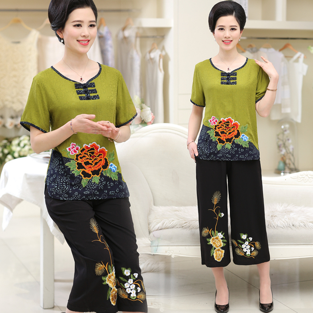Women Sets 2 Pieces Emulation silk Clothing Set Large Size XL-4XL 2020 Summer Middle aged mother High quality brand Tops+Pants 2