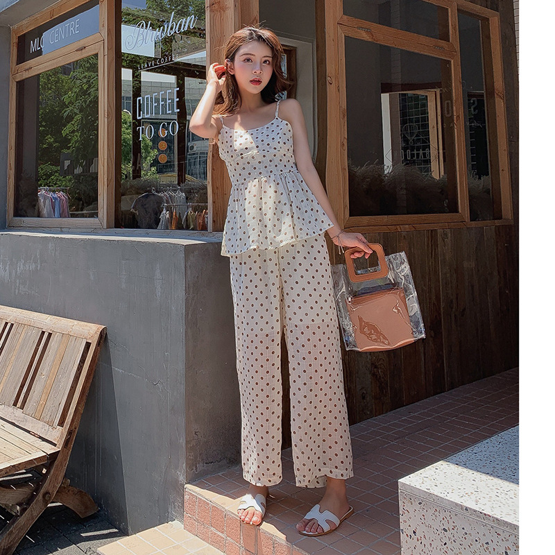 WOMEN'S Suit  New Style Korean-style Summer Fashion Polka Dot Chiffon Top Shirt With Narrow Straps + Loose Pants Two-Piece S