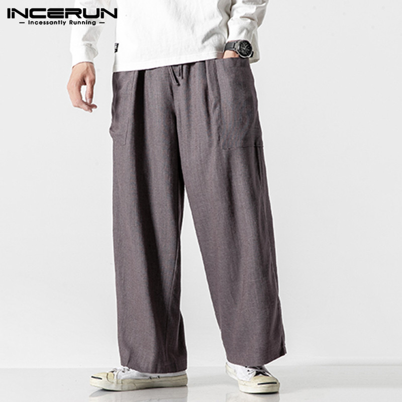 INCERUN Vintage Men Casual Wide Leg Pants Cotton Elastic Waist 2019 Pockets Joggers Retro Loose Trousers Men Street Solid Pants