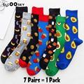 5/6/7 пар/пакет красочный Для мужчин с круглым вырезом Вечерние носки великолепные хлопковые Смешные счастливых катания на скейтборде новинк...