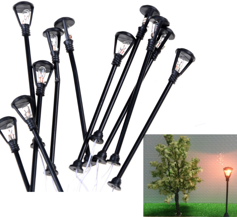 10pcs/set Mini Decor Street Lamp Fairy Garden Miniatures Moss Terrariums Desktop Bottle Garden Resin Crafts Decoration For Home
