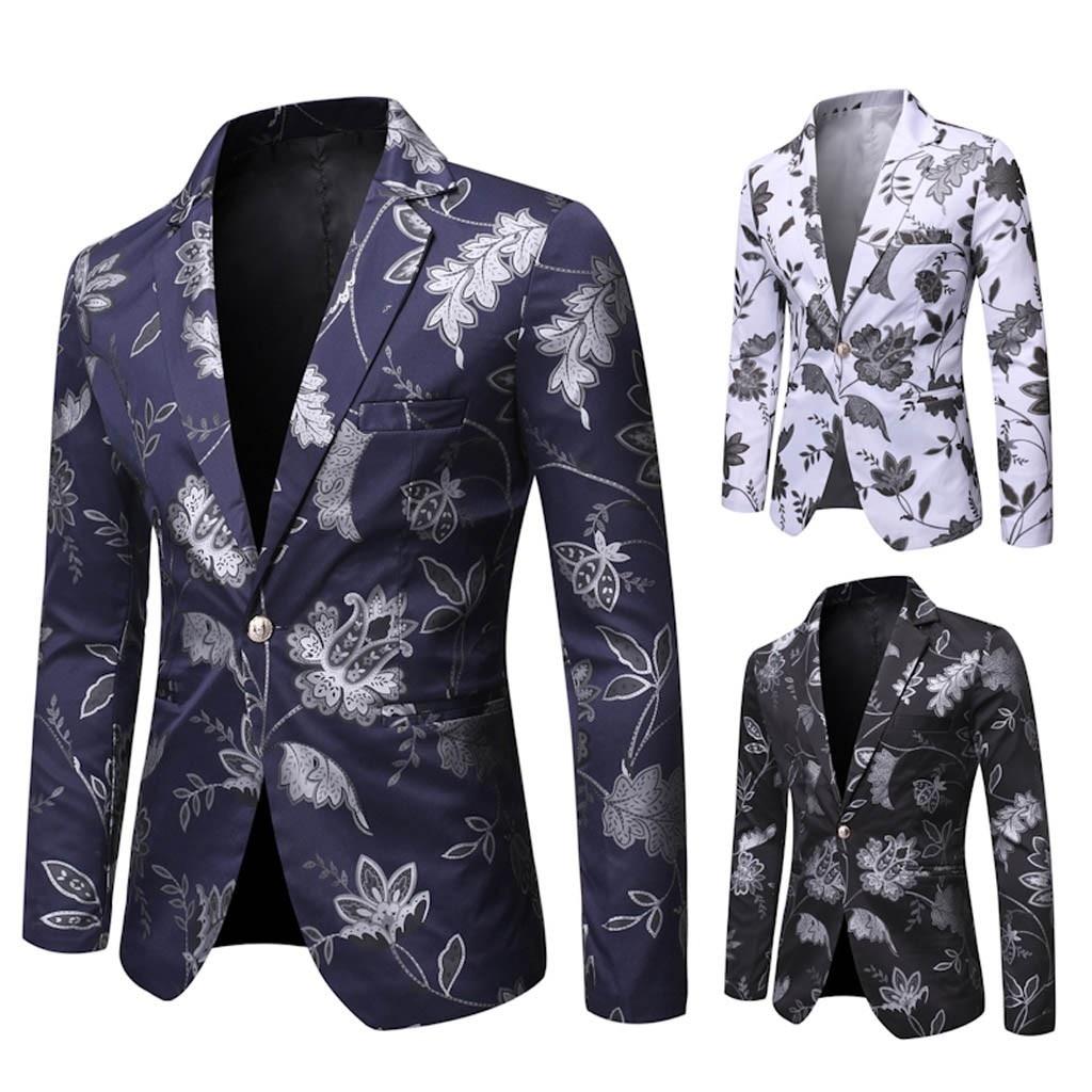 Homme décontracté Vintage col rabattu manches longues imprimé Floral costume manteau veste fête Blouse marque Blazer affaires Style décontracté