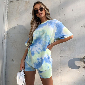 Zoctuo Tie Dye Casual Two Piece Set O-Neck Two Piece Sets for Women Skinny Shorts Streetwear Two Piece Short Set Summer 2020 two empresses