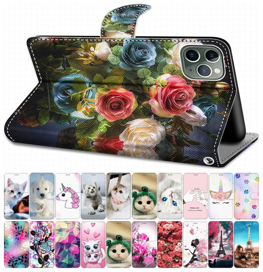 For Case Huawei P10 Lite P9 Lite 2016 P8 Lite 2017 2015 Flip Leather Book Cover Phone Case Cute Tiger Wolf Lion Cat Dog DP08F image