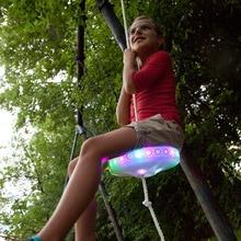 Дети бездельники качели сиденье светящаяся ночь Riderz Led диск летающая тарелка качели набор с Zipline игрушки на открытом воздухе