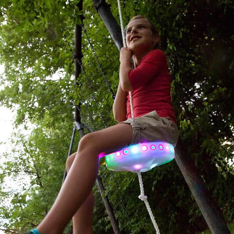 Trẻ Em Slackers Ghế Ngồi Xích Đu Phát Sáng Ban Đêm Riderz Led Đĩa Đĩa Bay Xoay Bộ Zipline Đồ Chơi Ngoài Trời