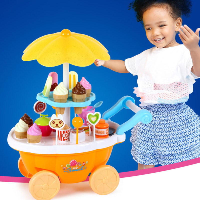 39Pcs Simulation Kitchen Toys Mini Push Car Candy Music Lighting Ice Cream Play House Early Education Girls Toy Gifts Toy Gifts