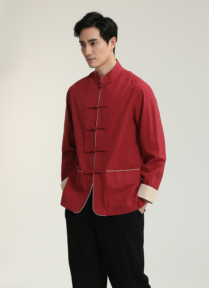 Chinese-style Chinese Style Flax 2707-3 Chinese Costume MEN'S Long Sleeve Top Middle-aged Long-sleeved Shirt/Set
