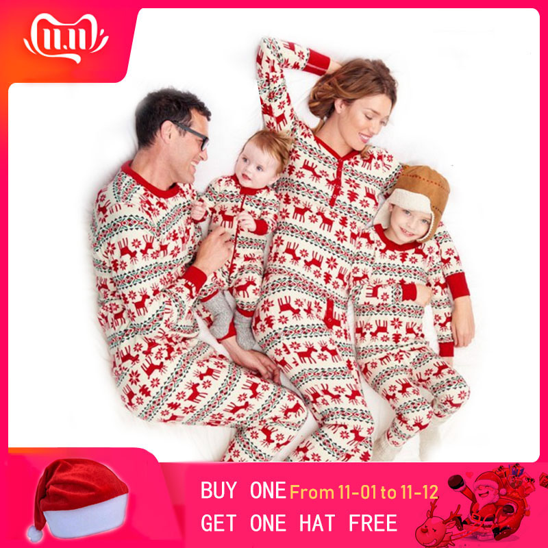 Christmas Paternity Suits Printing Homewear Pajamas Two-piece Top+Pant Cotton Dad Mom Child Family Matching Outfits Clothing
