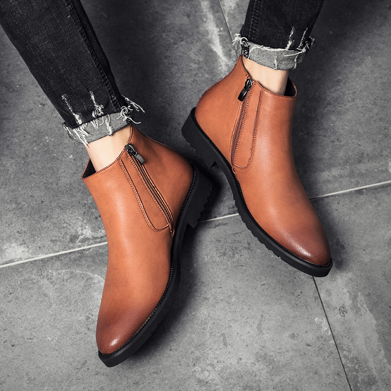 Men Shoes Leather High Top Men Boots Spring Autumn Chaussure Homme Casual Ankle Chelsea Boots Microfiber Leather Zip