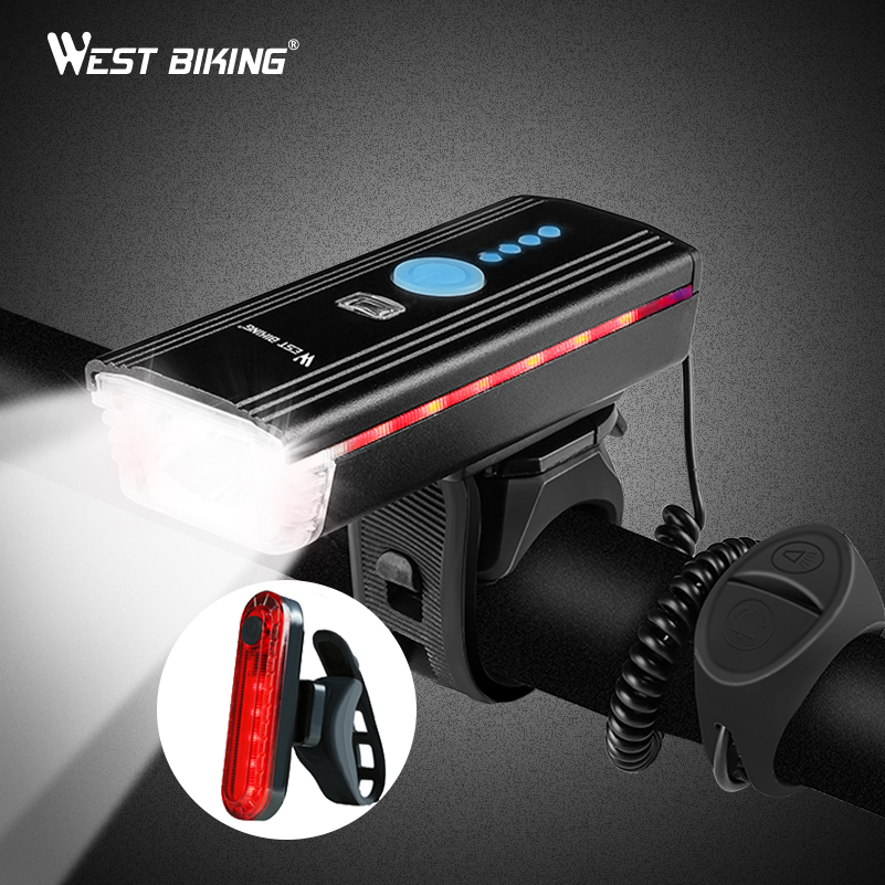 WEST BIKING Bike Light Induction Front Light Cycling Bicycle USB Charging Warning Flashlight Handlebar Torch With Bell Head Lamp