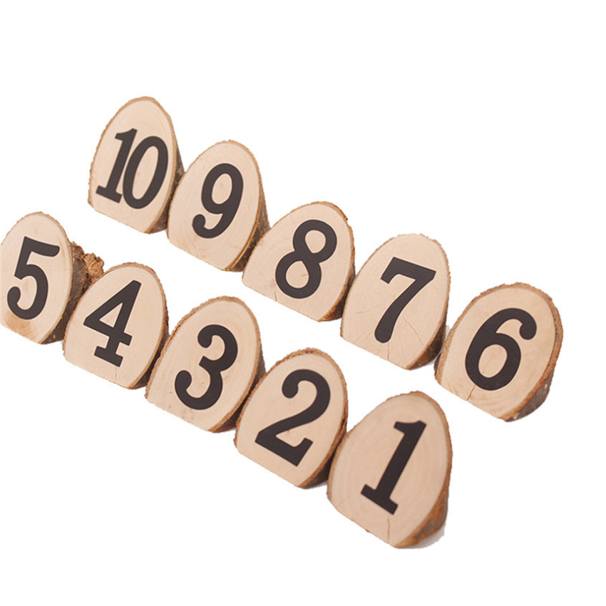 10pcs/lot Digital Number 1-10 Bevel Wooden Clips Home Painting DIY Craft Wood Natural Wedding Decoration Cute Stationery