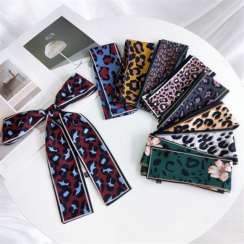 2019 Luxury Brand Leopard Print New Bag Decoration Silk Scarf For Women Foulard Tie Fashion Little Neckerchief